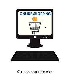 Computer displaying a shopping cart
