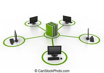 computer, documenten, netwerk