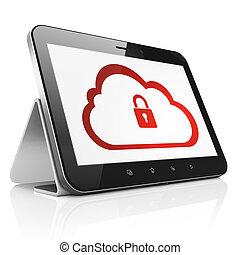 computer, draagbaar, tablet, gegevensverwerking, display., moderne, pc, hangslot, render, achtergrond, black , concept:, raak beschermlaag aan, witte , pictogram, wolk, 3d