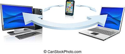 computer, draagbare computer, en, mobiele telefoon, het verbinden