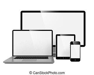 computer, draagbare computer, telefoon.