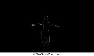 Computer drawing fouette girl ballerina in slow motion, black background