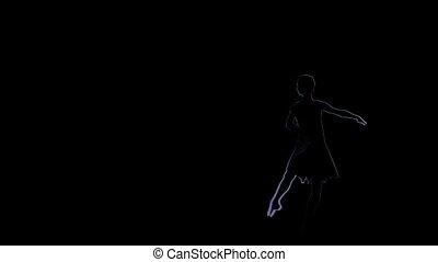 Computer drawing. Girl dancer, little ballerina posing on black background