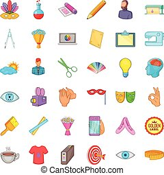 Computer drawing icons set, cartoon style