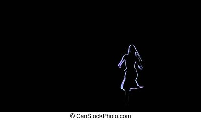 Computer drawing of ballerina posing in slow motion. Neon outlines