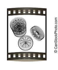 computer drawing of car wheel. Top view. 3d illustration. The film strip.