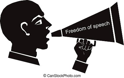 political speech, speaker, freedom - computer drawing,...