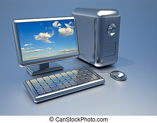 Computer - Conceptual shiny chrome computer with sky on...