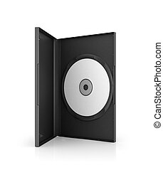 Computer dvd disk in case, isolated on white background