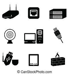 computer, e, rete, congegni