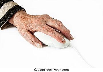computer egér, öregedő, kéz
