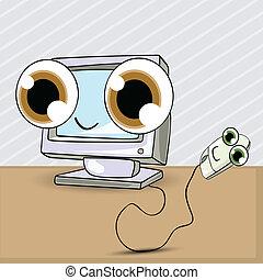 computer egér, karikatúra