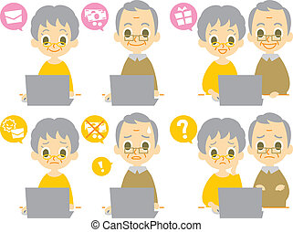 computer elderly couple computer viruses, vector file