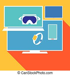 Computer electronic equipment set, vector illustration