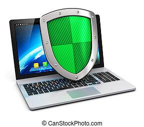 computer, en, internet veiligheid, concept