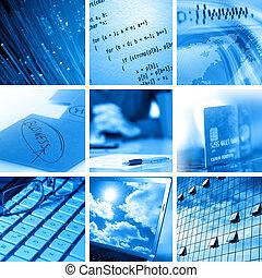 computer, en, zakelijk, collage