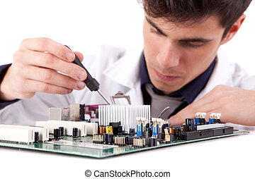 Computer Engineer, isolated over white background