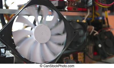 Computer cooling fan. Computer equipment