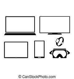Computer equipment set, black and white vector