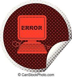 computer error circular peeling sticker