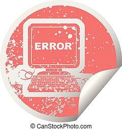 computer error distressed sticker