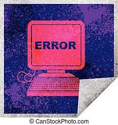 computer error square peeling sticker