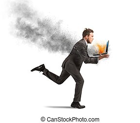Computer error - Concept of stress with running businessman...