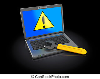 computer error - 3d illustration of cimputer with wrench,...
