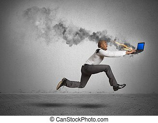 Computer error - Businessman running with blue screen...