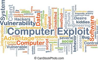 Computer exploit background concept
