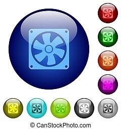 Computer fan color glass buttons