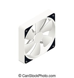 Computer fan isometric detailed icon