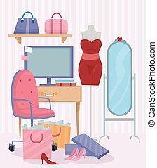 Computer Female Fashion Room