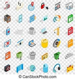 Computer file icons set, isometric style