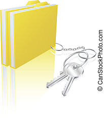 Illustration of file folder attached to keys as a keyring. Concept for secure file storage, access etc.