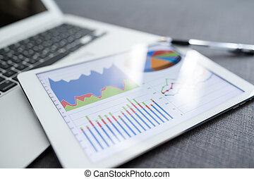 computer, finanziario, tabelle, tavoletta