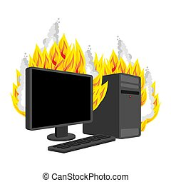 Computer Fire isolated. burning Computer. data processor ...