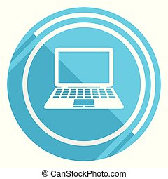 Computer flat design blue web icon, easy to edit vector illustration for webdesign and mobile applications