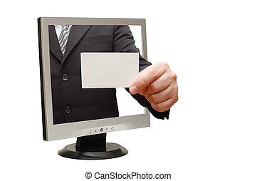 computer flat screen monitor giving a card