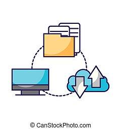 computer folder cloud computing connection data storage