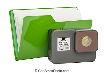 Computer folder icon with dashcam, 3D rendering
