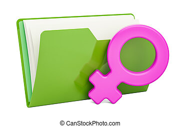 Computer folder icon with female gender symbol, 3D rendering