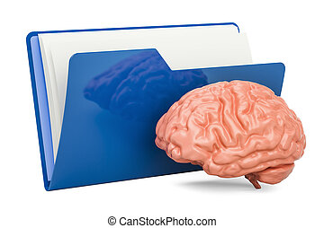 Computer folder icon with human brain, 3D rendering