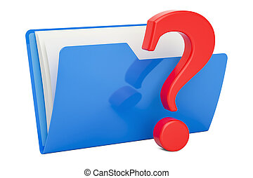Computer folder icon with question mark, 3D rendering
