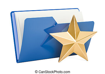 Computer folder icon with star, 3D rendering
