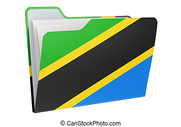 Computer folder icon with Tanzanian flag. 3D rendering isolated on white background
