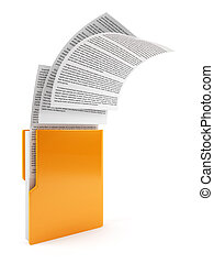 Computer folder with documents - 3d illustration of computer...