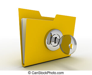computer folder with key . 3d illustration