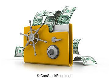 Computer folder with money(e- business concept)