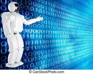 computer, fondo, con, robot